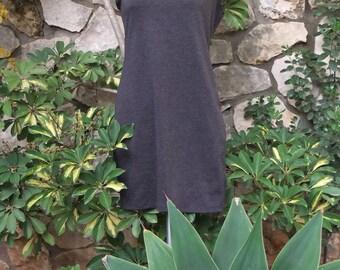 Gray Little Dress, Jersey Stretch Jersey Knit Dress, Cap Sleeve Dress, Gray Charcoal Dress, Handmade Jersey Dress, Round Neck- Size M