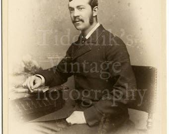 Cabinet Card Photo - Victorian Young Handsome Dapper Man, Mustache Mutton Chops Portrait - Hemery & Comp London England - Antique Photograph
