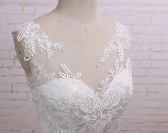 Romantic Lace A Line Chiffon Wedding Dress with Illusion Neckline