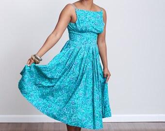 1950s Teal & Blue Boat Neck Dress - S