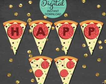 Pizza Birthday Banner, Pizza Bunting, Pizza Banner, Pennant, Birthday Bunting, Pizza Party, Pizza, Party Decoration, INSTANT DOWNLOAD #3337