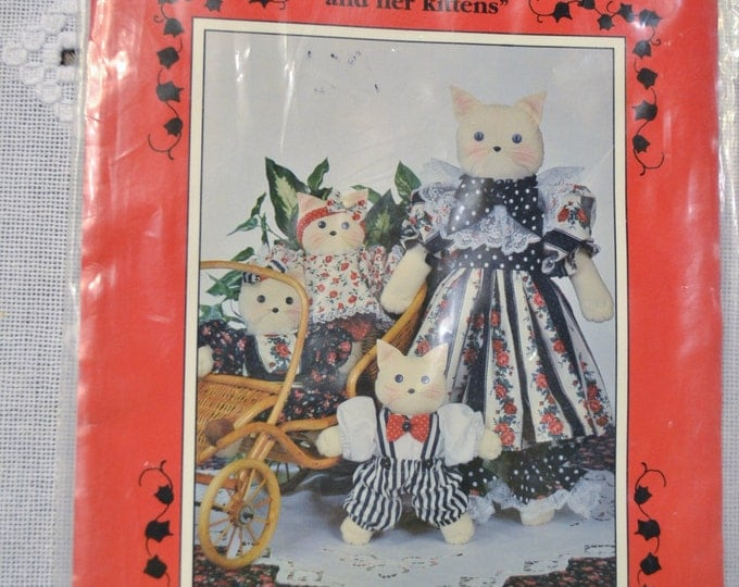 Clista and Her Kittens Pattern Soft Sculpture Cat Doll Family Precious Collections Sewing Supplies PanchosPorch