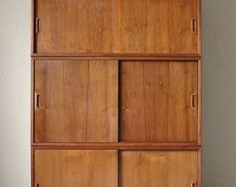 Raymor Omnibus Wall Unit by Sven Ellekaer Danish Teak Walnut | Mid Century Modern Modular Wall Cabinets | Cado Style Wall Shelving System