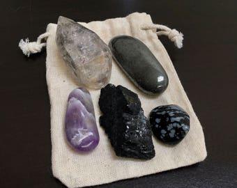 Protection Crystal Pouch, Snowflake Obsidian + Hematite + Chevron Amethyst + Tibetan Black Quartz, Negative Energy Protection, Magic