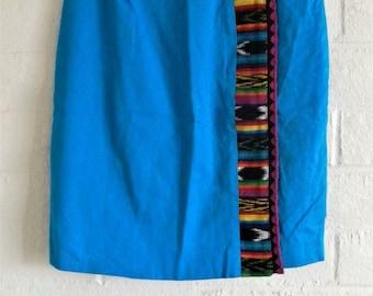 Vintage Colorful Southwestern Wrap Pencil Skirt // 1980s Southwestern Pencil Skirt