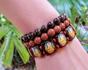 Buddha Bracelet, Healing Stones Jewelry, Supportive, Protection, Meditation, Yoga, One Size Fits Most