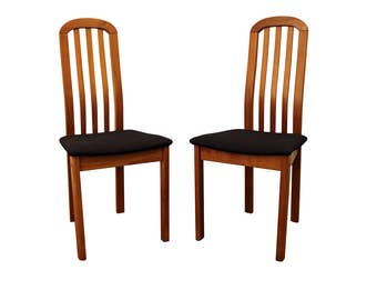 Pair of Mid-Century Danish Modern Teak Spindle-Back Side/Dining Chairs