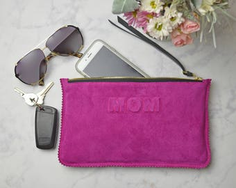 Fuchsia Suede Leather Clutch, Mothers Day, mom gift, monogram clutch, Leather Pouch, Leather Monogram, Leather carryall , monogram pouch