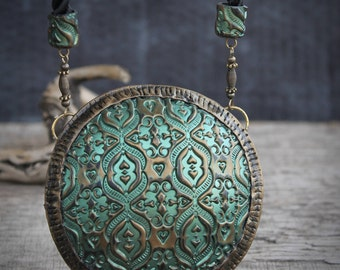 baroque style green metalic pendant bohemian necklace boho Chic  pendant necklace vintage pendant polymer clay pendant great gift for her