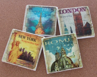 Set of 4 Tumbled Marble Tile Coasters - Travel Coasters