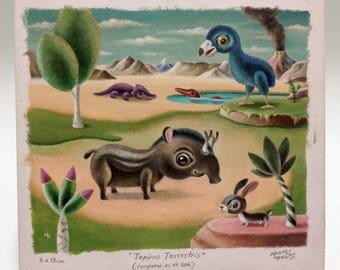 Tapirus Terrestris,  Prehistoric scene. original miniature painting by Martin Harris