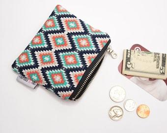 Aztec Coin Pouch, Mini Wallet, Small Coin Purse, Money Pouch, Coin Bag, Small Zipper Bag, Small Zipper Pouch, Zipper Wallet
