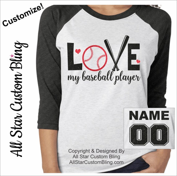 Love my baseball player tri blend raglan custom baseball for Custom raglan baseball shirt