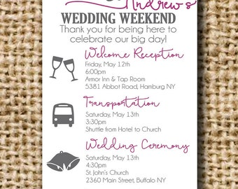 Wedding Timeline Itinerary