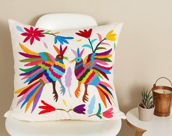 Large Mexican Otomi Pillow, Fair Trade Pillow, Scatter Cushion, Otomi Embroidery, Otomi Tenango, Multicolour Decorative Pillow