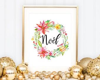 NOEL Christmas Printable Art Print, 8x10, Watercolor Christmas Wreath, Poinsettia Wreath Print, Holiday Home Decor, Christmas Wall Art