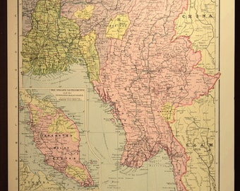 Burma Map of Burma Southeast Asia Calcutta Thailand Siam