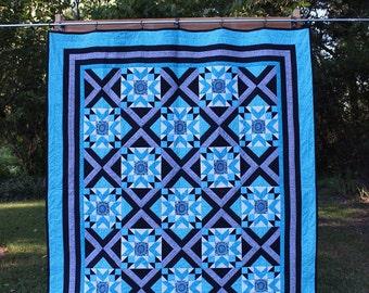 Black and Aqua Handmade Quilt