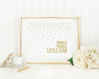 Twinkle Twinkle Little Star Printable Gold Glitter Star Print Star Quote Gold Nursery Decor Nursery Rhyme Nursery Quote Stars Gender Neutral