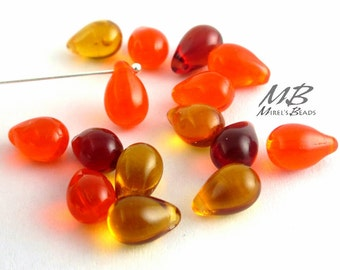 25 pcs Orange Mix Teardrop Beads, 9x6mm Czech Glass Beads