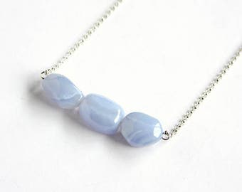 Blue Chalcedony Sterling Necklace Three Periwinkle Lavender Chalcedony Chunky Agate Simple Statement Sterling Silver Chain Purple #17494