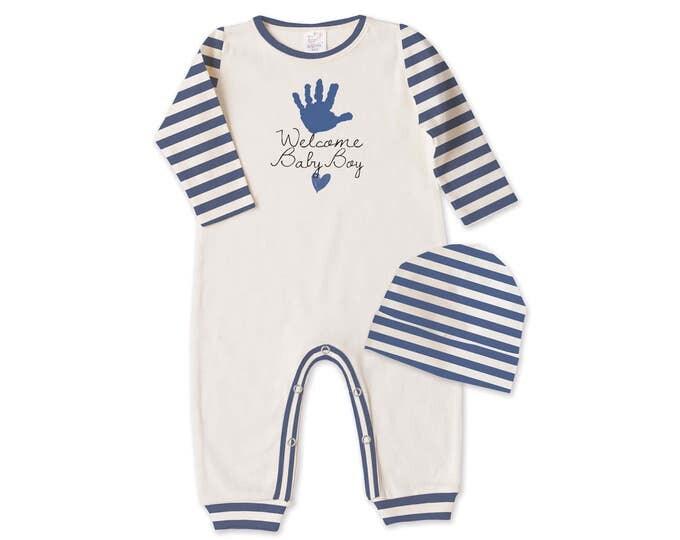 Welcome Baby Boy Outfit, Newborn Boy Coming Home Outfit, Baby Boy Take Home Romper, Welcome Baby Boy Romper Beanie Tesababe RC81IYBIS63BI