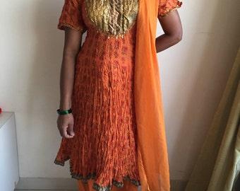 Vintage Indian Suit, Orange Salwar Kameez, Golden Yoke, Crushed cotton, Indian mulmul , Set of 3, Printed cotton, Indian tunic, Anarkali