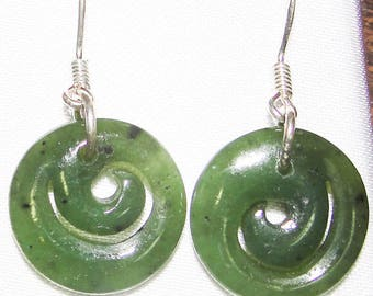 Jade Round Spiral Earrings