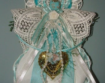 Victorian Angel Ornament Teal Lace Roses Artisan  Handmade Guardian Nature French Cottage Shabby Chic White