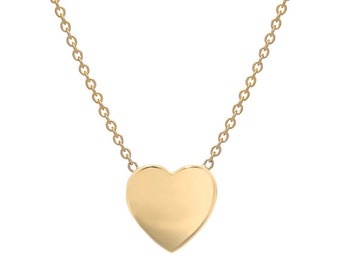 14k gold heart necklace, solid gold heart necklace
