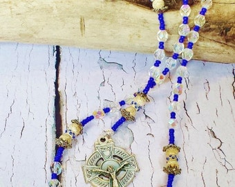 Catholic Rosary Beads ~ Sapphires, Sterling Silver & Crystal, Thoughtful Gift for First Communion or 25th Anniversary ~ September Birthstone