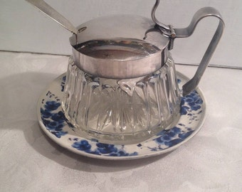 Jam Jar, Honey Pot, Vintage Silver Collectible Covered Lidded Pressed Glass Jar w/ Silver Spoon and Upcycled Pewter Saucer, Made In Italy