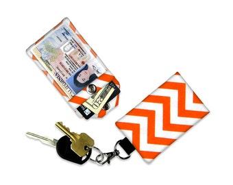Orange Chevron Mini Wallet Card Holder Keychain Clear ID Holder Small Wallet ID Wallet Minimalist Wallet Student ID Badge Credit Card Wallet