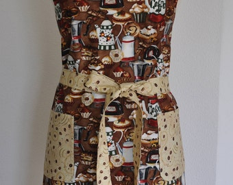 Apron for Coffee Lovers, Coffee Pots, Coffee Beans, Cup Cake, Donut Apron, Unique Teal Reversible Apron,Birthday Gift,Fits up to 2XL
