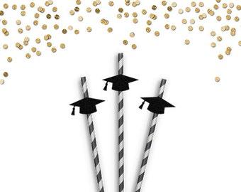 Graduation Party Straws - Graduation Party Decor - Graduation Decorations - Graduation Caps - Graduation Cap Straws