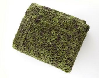Crochet Blanket – Chunky Green Plaid - Brown Throw Blanket -  Alpaca Wool Blanket - Thick Afghan - Uncinetto - Couverture - крючком одеяло
