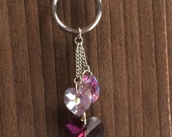 Purple Swarovski Heart Necklace, Swarovski Cluster Necklace, Swarovski Jewelry