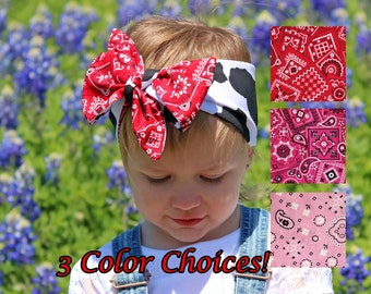 Moo Cow Headband Baby, Jessie Toy Story Costume Accessories, Cowgirl Baby Headwrap, Red Bandana Headband Baby Head Wrap, Cowgirl Birthday
