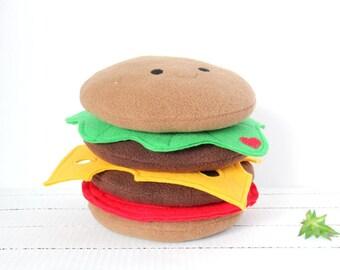 Double Patty Burger, Hamburger Plush, Burger Plush, Food Stuffed Animal, Fast Food, Food Plushie, Food Plush, Fast Food Plush
