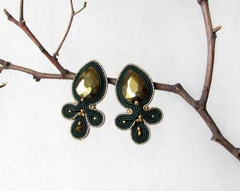 Clip on earrings Green gold earrings Drop gold clip on earrings Soutache Gift for her golden jewelry Gift for grandmother Statement earrings
