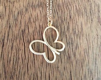 Minimalist Gold Butterfly Necklace, Simple Butterfly Necklace