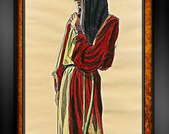 Vintage BEDOUIN WOMAN Nomad Sketch PAINTING Arabian Nights~Illustration~Original Costume Design Sketch~Signed Drawing