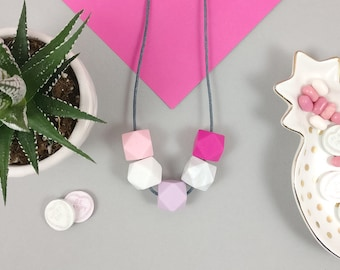 Silicone Teething Necklace - Pink,Marble & Lilac | Mother's day | New Mum Gift | Geometric Necklace | Baby Shower Gift | Chewelry | Soother