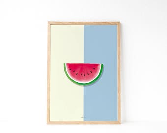 Kitchen wall decor | Watercolor poster | Watermelon decor | Tropical decor | Fruit printable | Instant download printable art | Modern style