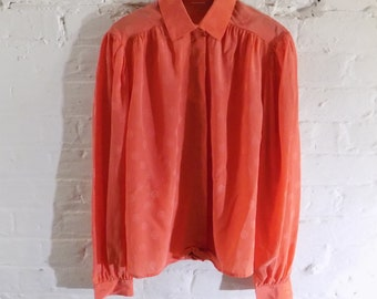 1980s vintage Coral Red Smock Blouse Top with Tonal Flower Print - UK 8 EU 36 US 6 - Preppy Cute