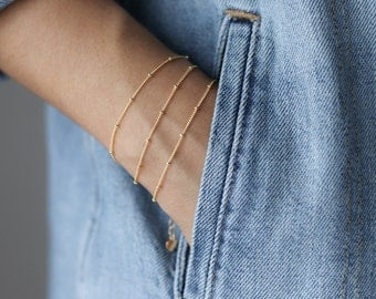 Dainty Gold Bracelet - Beaded Bracelet - Everyday Jewelry - Layering Bracelet - Satellite Bead Bracelet - Simple Jewelry - Bridesmaids Gift