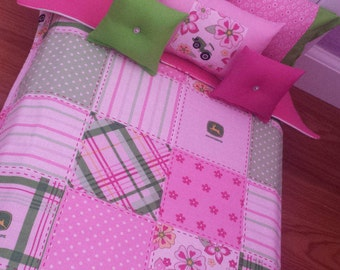 """Handmade -6-PC-bedding set  Floral Patchwork for American girl doll or any 18"""" dolls bed"""