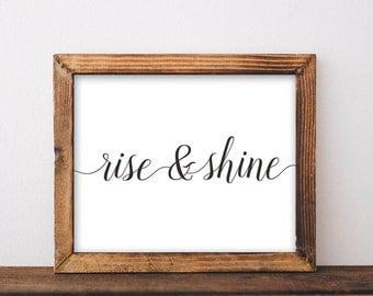 Rise and Shine, printable, art print, art prints, wall art, wall decor, bedroom decor, bedroom, bedroom wall decor, bedroom wall art, print