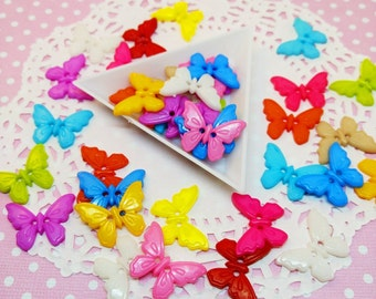 25pc Butterfly Buttons Assorted Color 23mm Kawaii Resin Acrylic Plastic Buttons Sewing Decoden Craft DIY