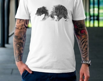 Men's T-Shirt - Bear Black and White Art T-Shirt, Forest, Bear Watercolor, Animal Art Shirt, Grizzly Bear White T-Shirt, Nature Men's Tshirt